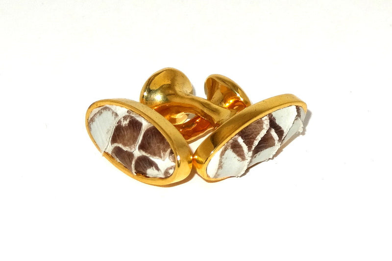 Cuff link  Snake skin costume jewellery brown and white in gold plate