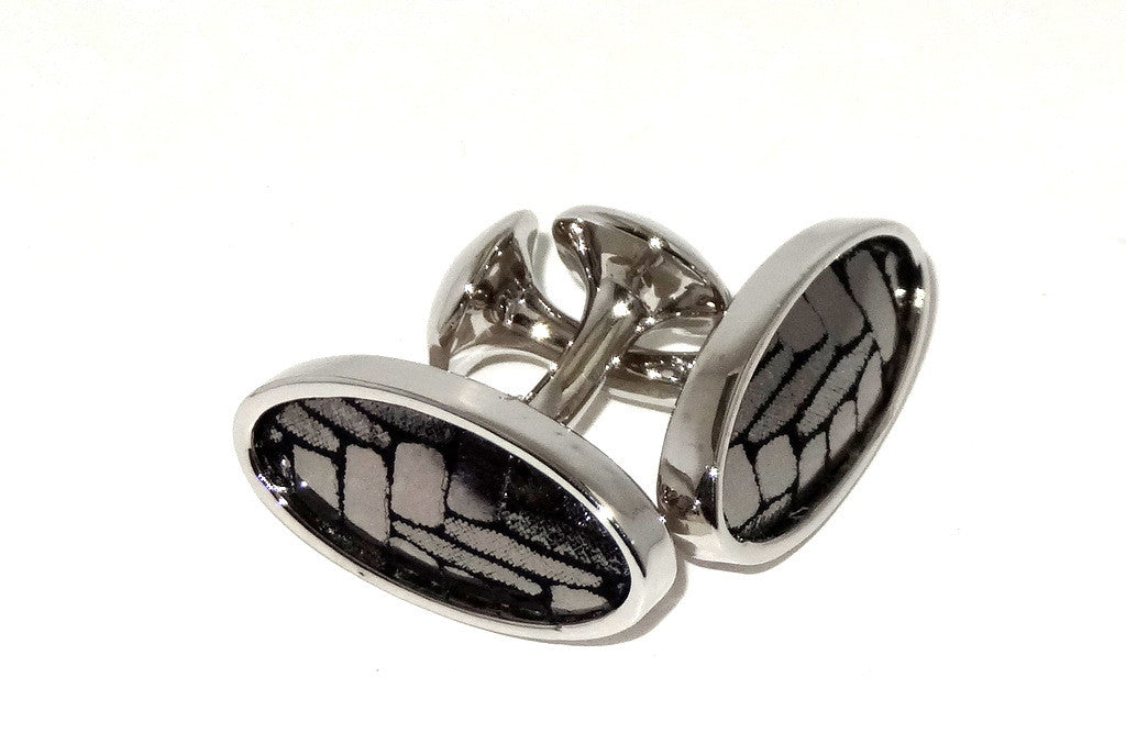 Cuff link   Leather printed costume jewellery silver zig zag nickel