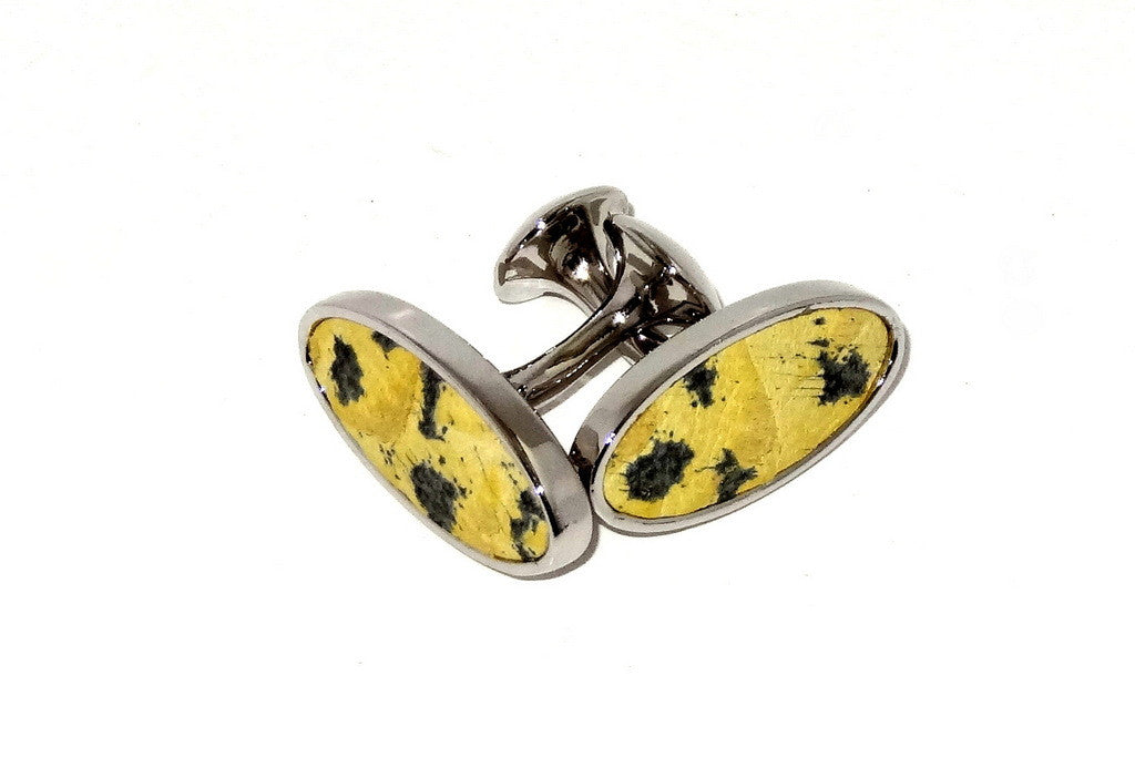 Cuff link   Leather printed costume jewellery yellow snake print in nickel