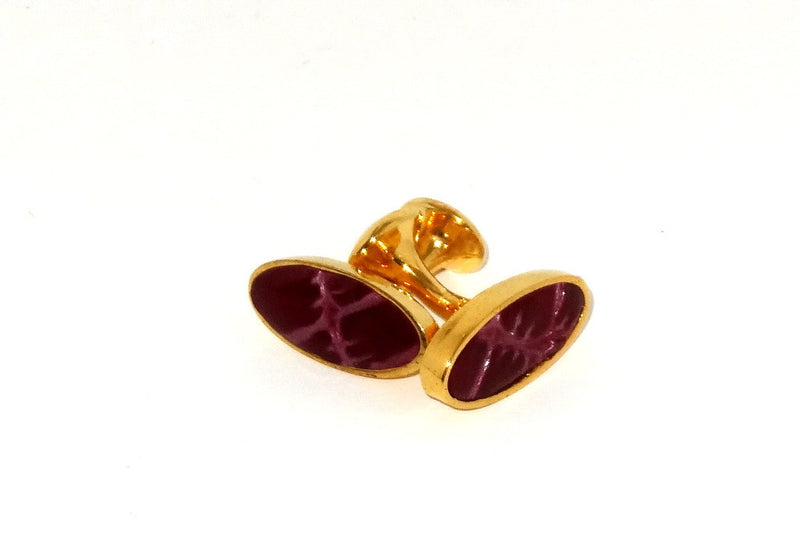 Cuff link   Leather printed costume jewellery cherry foil print gold plate