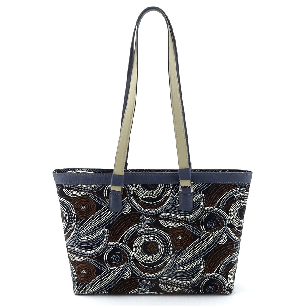 Emily  Medium fabric & leather tote bag Aboriginal designed fabric front view handles up