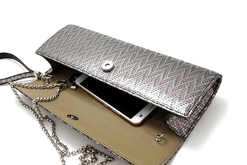 Kate Silver zig zag textured leather ladies evening clutch bag inside view