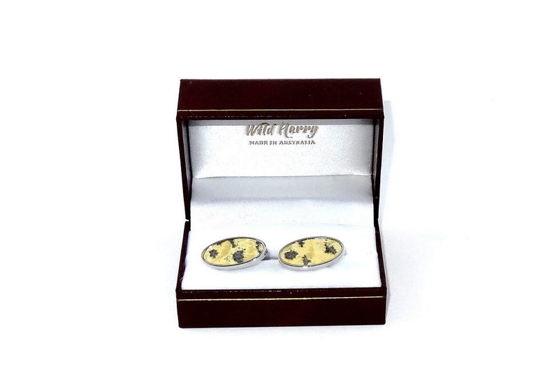 Cuff link   Leather printed costume jewellery shown in box