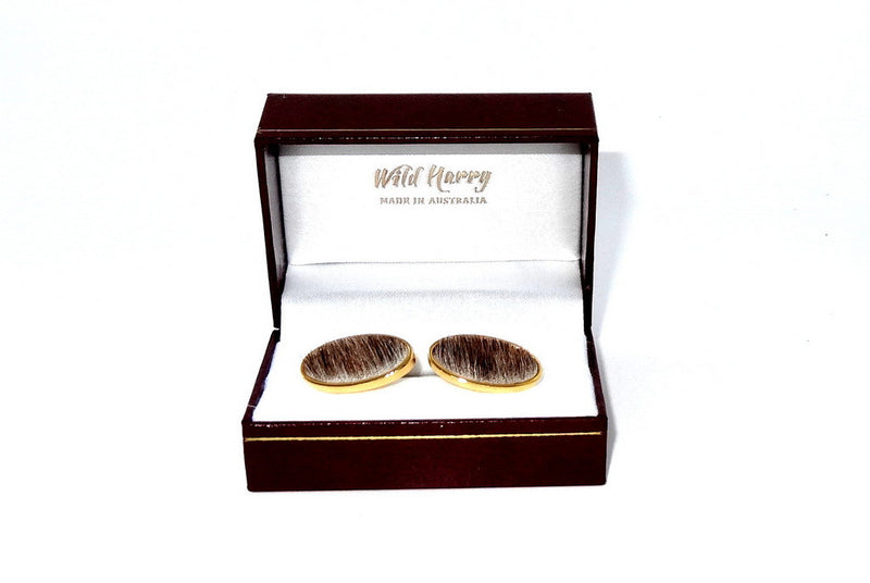 Cuff link   Hair on Hide costume jewellery showing in box
