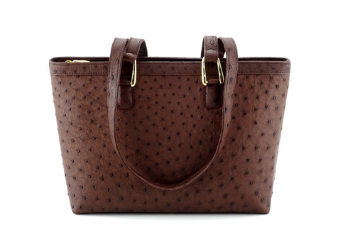 Emily  Medium  brown Ostrich leather tote bag gold fittings handles down