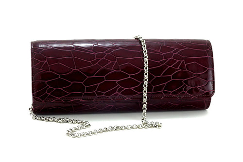 Meredith  Burgundy foil leather ladies clutch bag