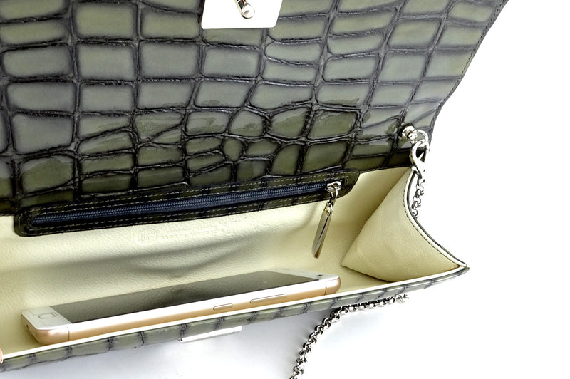 Meredith  Grey foil leather ladies clutch bag inside view