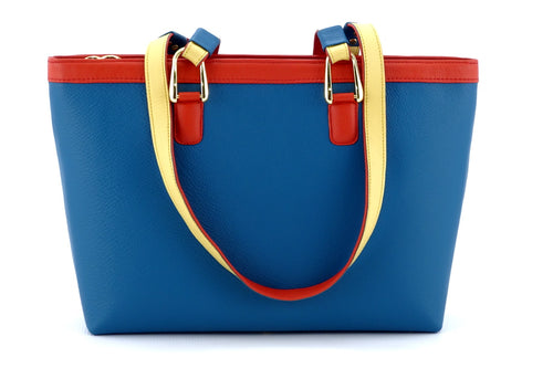 Emily  Medium leather tote bag azure, lemon & orange combination front handles down