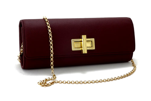 Meredith  Burgundy leather ladies clutch evening bag with chain shoulder strap