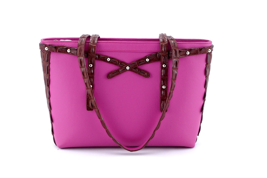 Emily  Medium tote bag fuchsia leather & back strap nickel fittings front handles down