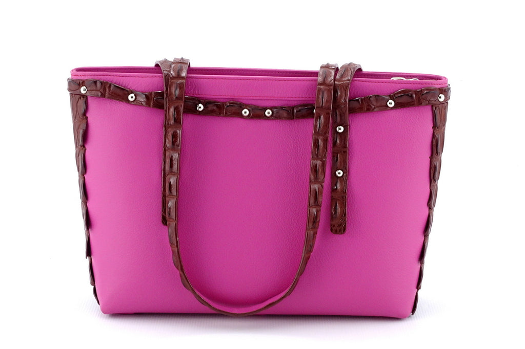 Emily  Medium tote bag fuchsia leather & back strap nickel fittings baack handles down