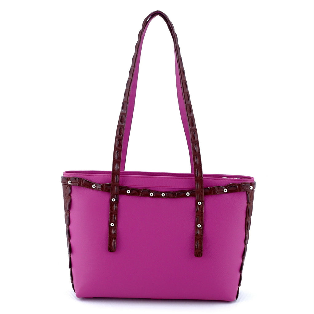 Emily  Medium tote bag fuchsia leather & back strap nickel fittings handles up back