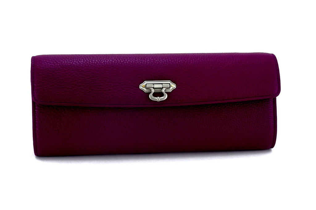 Kate Purple textured leather ladies evening clutch bag