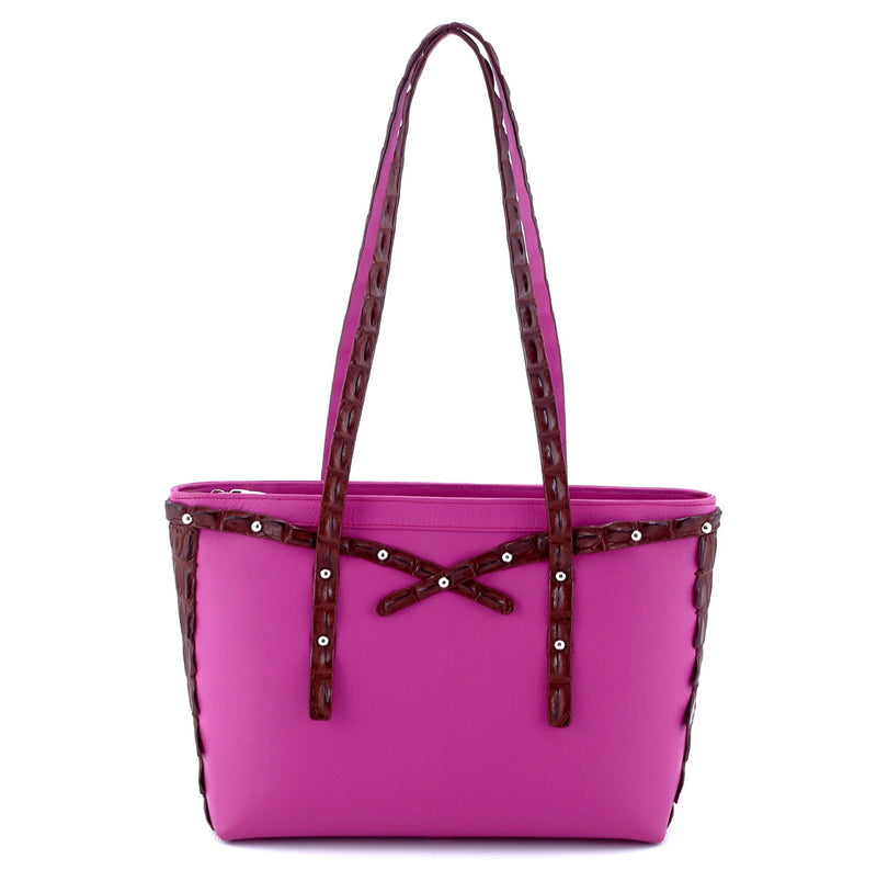 Emily  Medium tote bag fuchsia leather & back strap nickel fittings front handles up