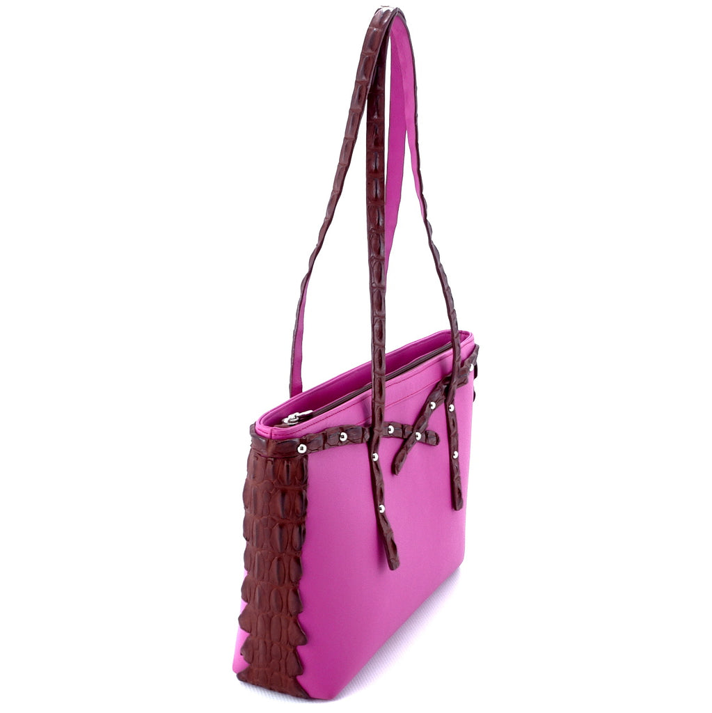 Emily  Medium tote bag fuchsia leather & back strap nickel fittings side handles up