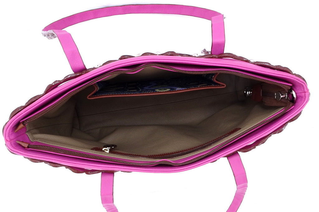 Emily  Medium tote bag fuchsia leather & back strap nickel fittings inside pockets