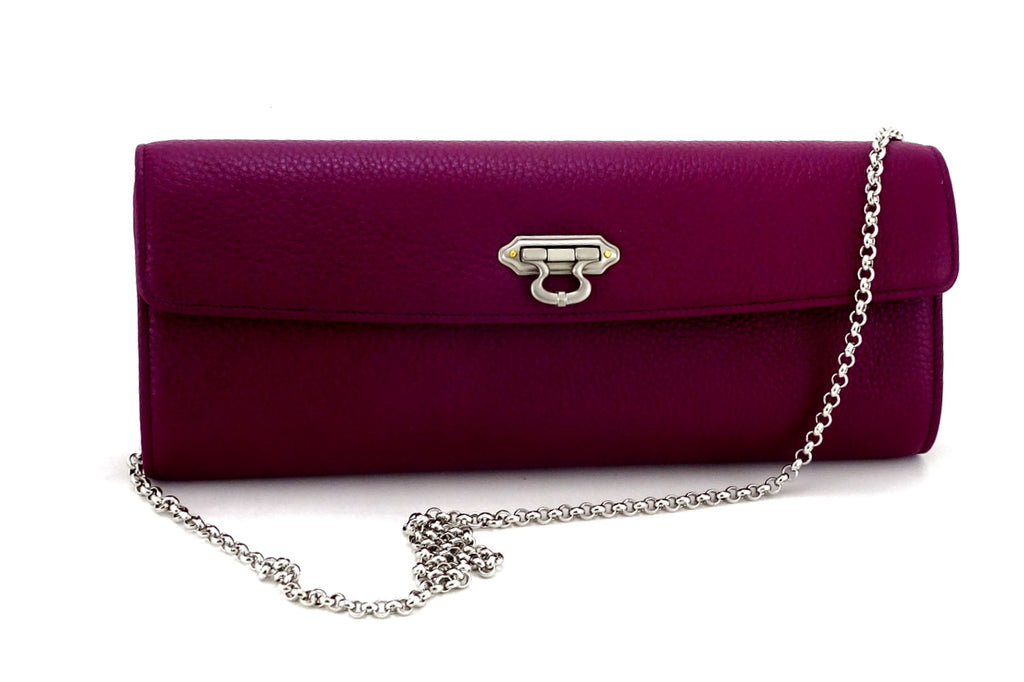 Kate Purple textured leather ladies evening clutch bag with chain shoulder strap