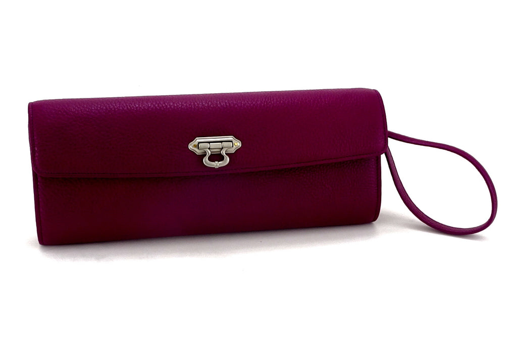 Kate Purple textured leather ladies evening clutch bag with leather wrist strap