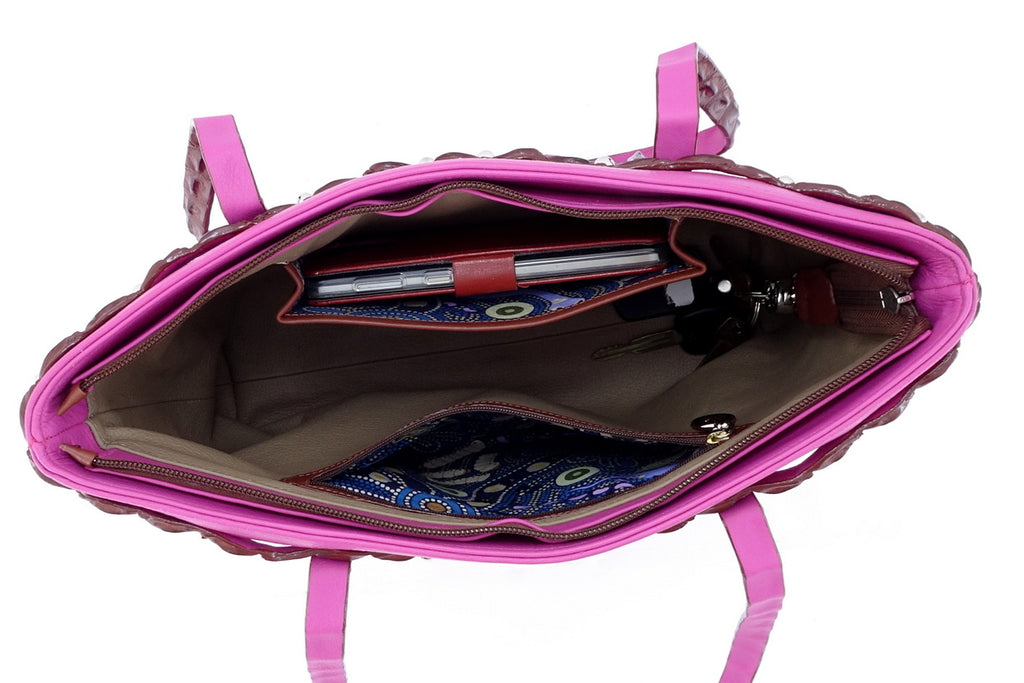 Emily  Medium tote bag fuchsia leather & back strap nickel fittings inside pockets in use