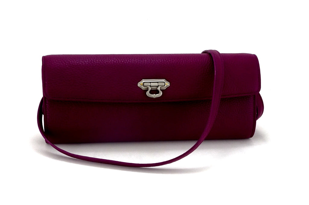 Kate Purple textured leather ladies evening clutch bag with leather shoulder strap