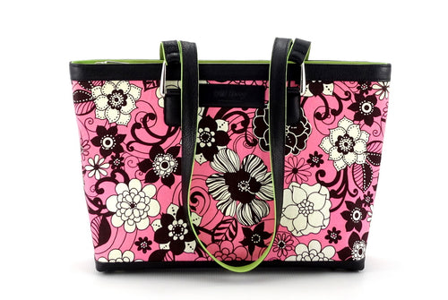Emily  Medium fabric & leather tote bag fuchsia, lime & black front view handles down