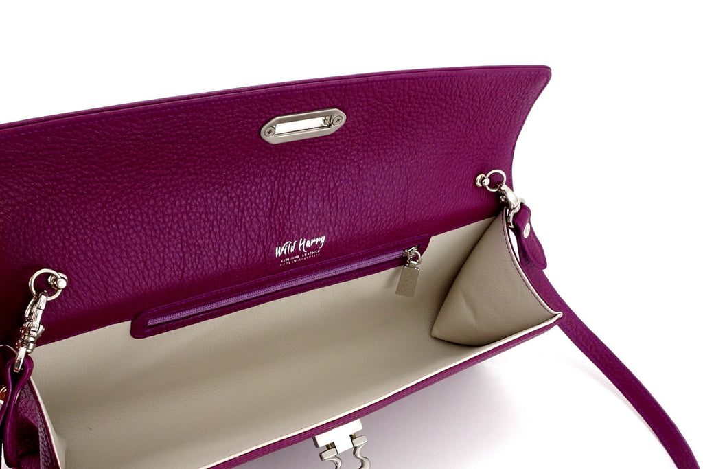 Kate Purple textured leather ladies evening clutch bag inside view