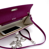 Kate Purple textured leather ladies evening clutch bag inside view with phone
