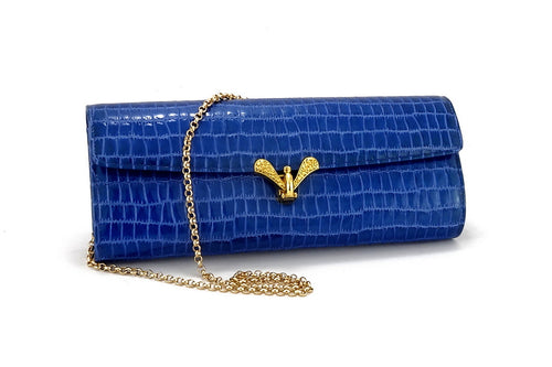Kate  Blue foil coated leather ladies clutch bag