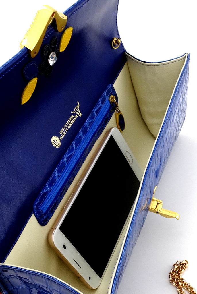 Kate  Blue foil coated leather ladies clutch bag inside view