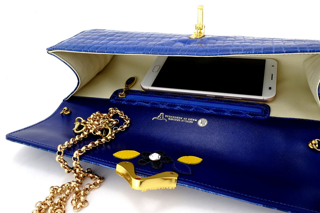 Kate  Blue foil coated leather ladies clutch bag view from top