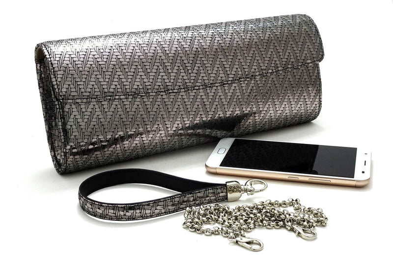Kate Silver zig zag textured leather ladies evening clutch bag