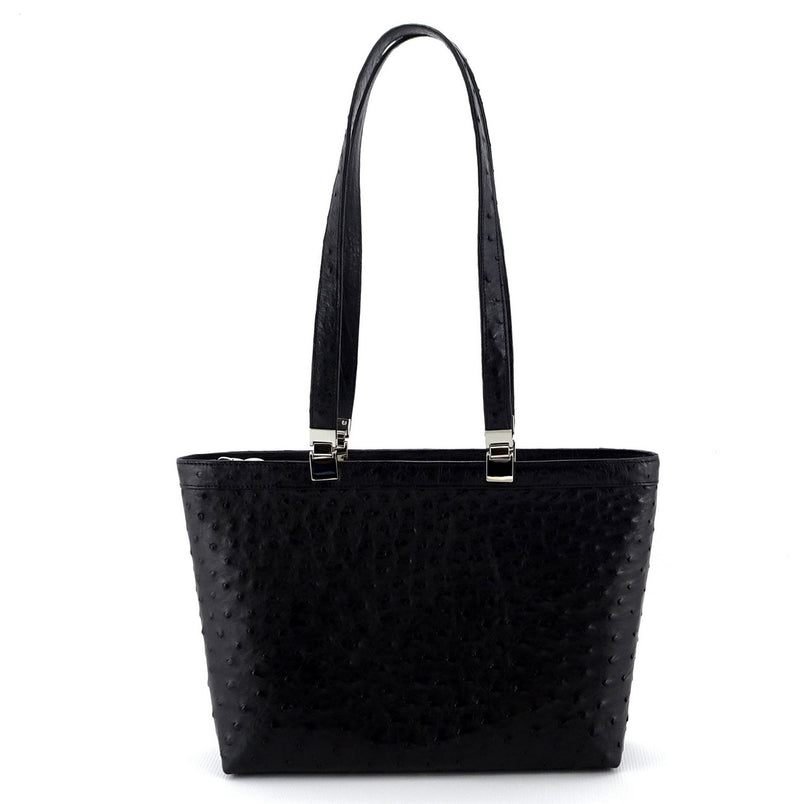 Black ostrich tote bag with nickel fittings outside view with shoulder straps in fully extended position