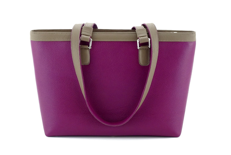 Emily  Medium leather tote bag purple & basil leather handles down