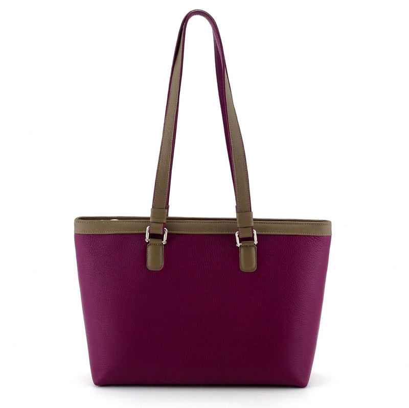 Emily  Medium leather tote bag purple & basil leather handles up