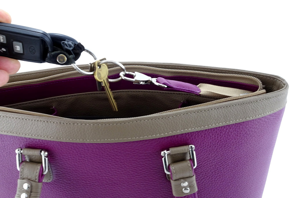 Emily  Medium leather tote bag purple & basil leather internal key holder