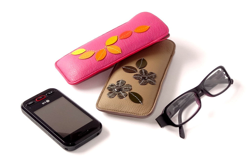Glasses/mobile phone soft case Decorated leather