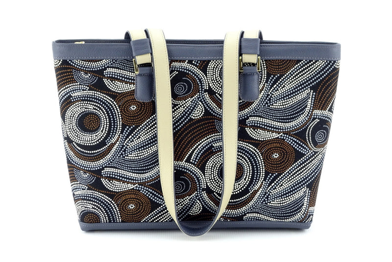 Emily  Medium leather & fabric tote bag Aboriginal designed fabric handles down