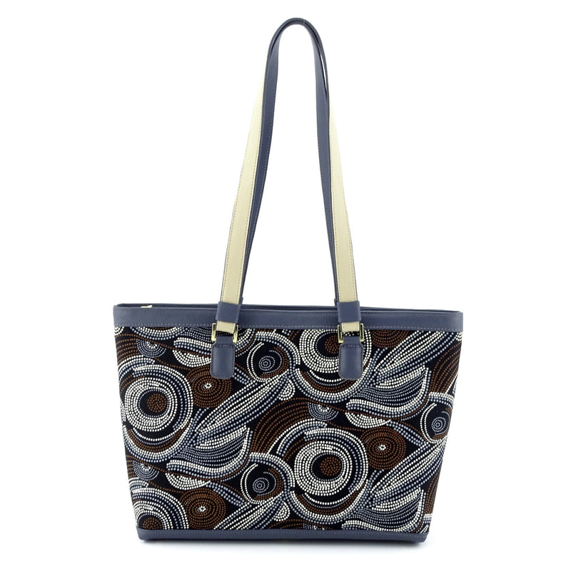 Emily  Medium leather & fabric tote bag Aboriginal designed fabric handles up