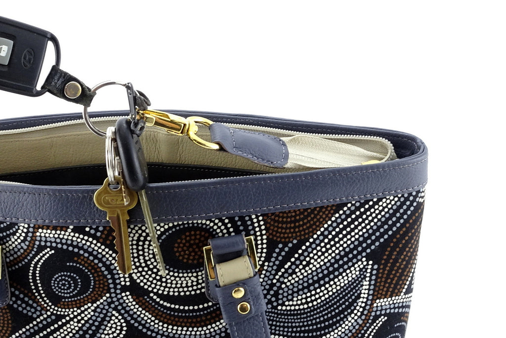 Emily  Medium leather & fabric tote bag Aboriginal designed fabric key holder