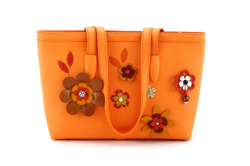 Emily  Medium leather tote bag pale orange leather & flower detail side one handles down