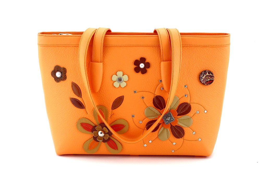 Emily  Medium leather tote bag pale orange leather & flower detail side 2 handles down