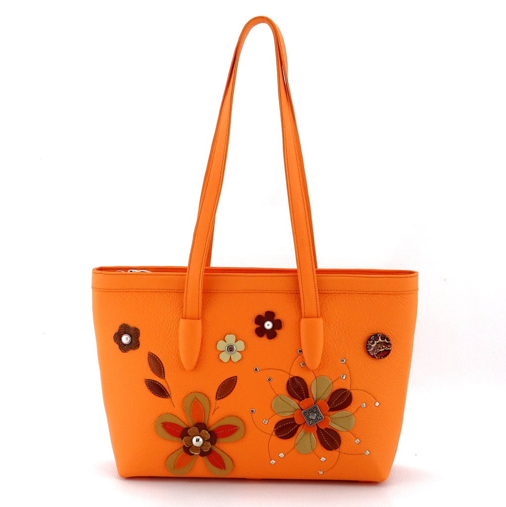 Emily  Medium leather tote bag pale orange leather & flower detail side 2 handles up