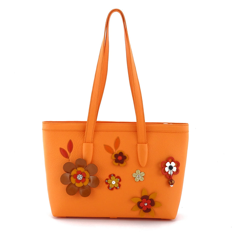 Emily  Medium leather tote bag pale orange leather & flower detail side one handles up