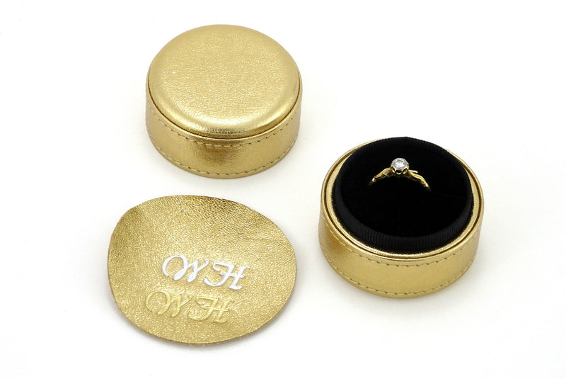 Ring Box round  Gold metallic sheep skin leather showing monograming