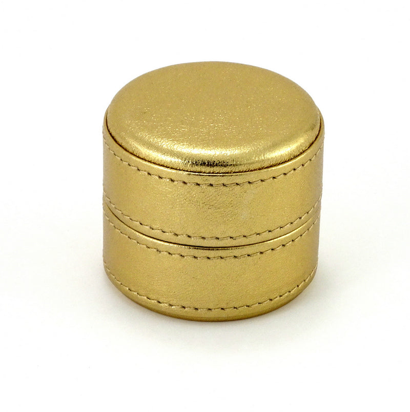 Ring Box round  Gold metallic sheep skin leather lid on