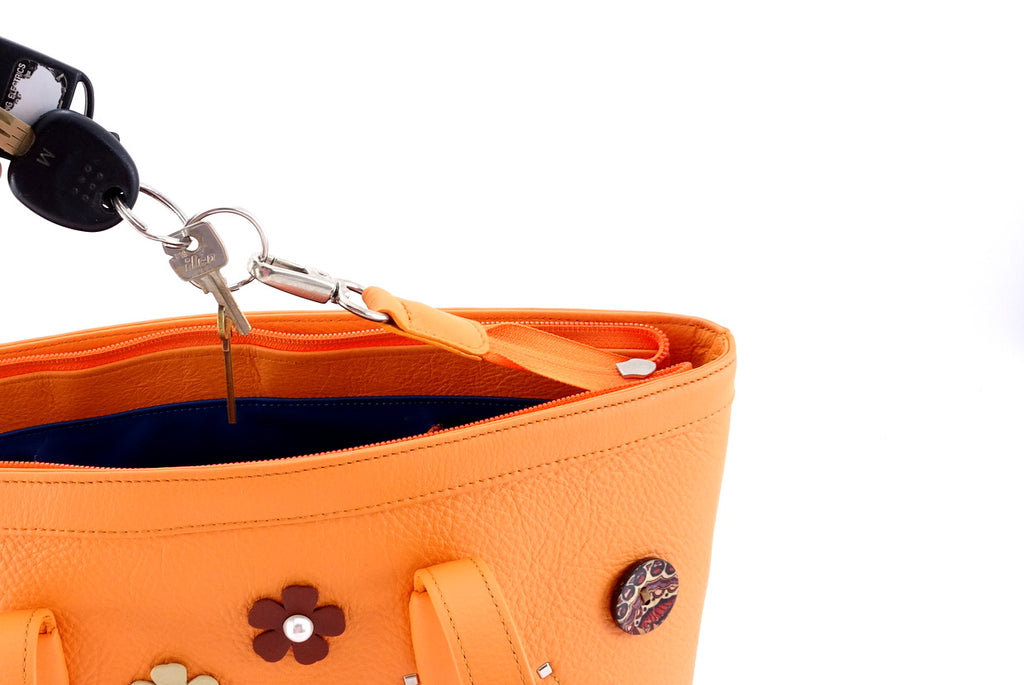 Emily  Medium leather tote bag pale orange leather & flower detail key holder