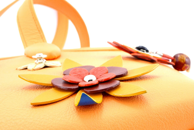 Emily  Medium leather tote bag pale orange leather & flower detail flower detail