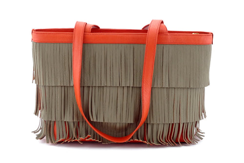 Emily  Medium leather tote bag burnt orange with taupe fringing front handles down