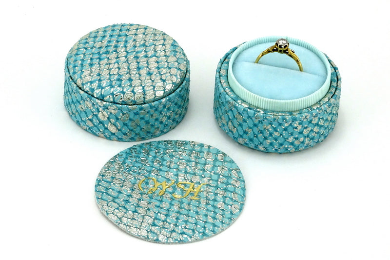 Ring Box round  Mermain blue metallic textured leather showing monograming