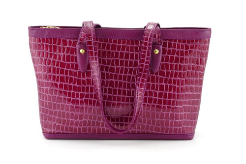 Emily  Medium leather tote bag purple & cherry gold fittings handles down